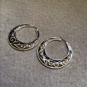 Black Swirl Earrings Pierced Hoop Enamel
